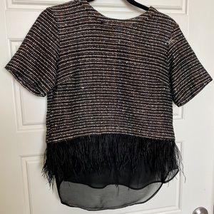 Greylin Black Shimmer layered Hem Top XS